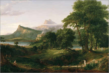 Print på aluminium  The Course of Empire - The Arcadian or Pastoral State - Thomas Cole