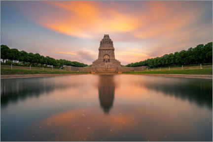 Lærredsbillede  Monument to the Battle of the Nations at sunset - Andreas Vitting