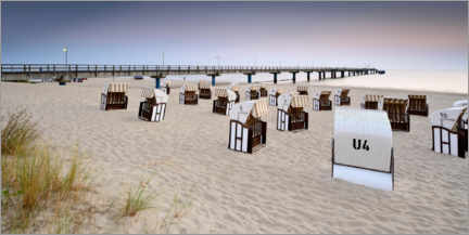 Lærredsbillede  Pier and beach chairs on Usedom - Andreas Vitting