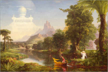 Print på træ  The journey of life, the youth - Thomas Cole