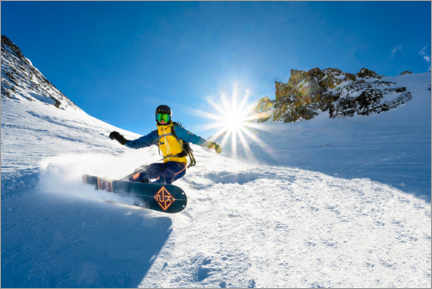 Premium-plakat Snowboarder with splitboard rides in the snow
