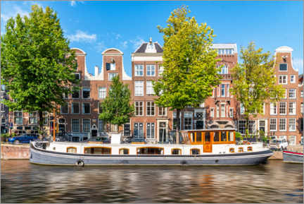 Premium-plakat Architecture and boat in the canals of Amsterdam