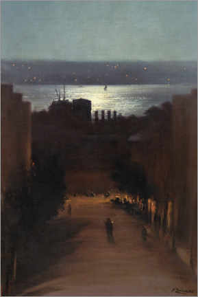 Akrylbillede  View of Besiktas - Fausto Zonaro