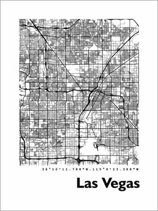 Premium-plakat  Las Vegas city map - 44spaces
