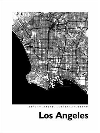 Print på skumplade  Los Angeles city map - 44spaces