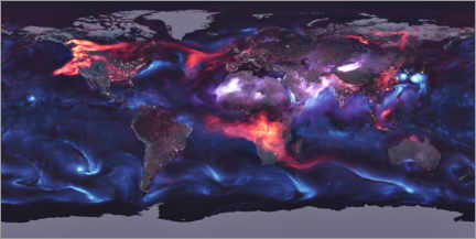 Print på træ  Global distribution of aerosols - NASA
