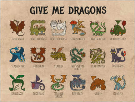 Print på træ  Give me dragons