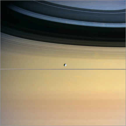 Premium-plakat Saturn and its moon Dione