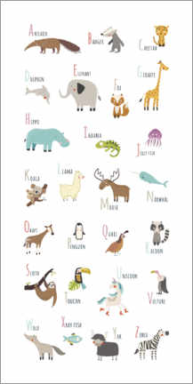 Premium-plakat ABC animals (english)