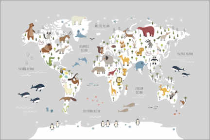 Lærredsbillede  World map wih animals (grey) - Marta Munte