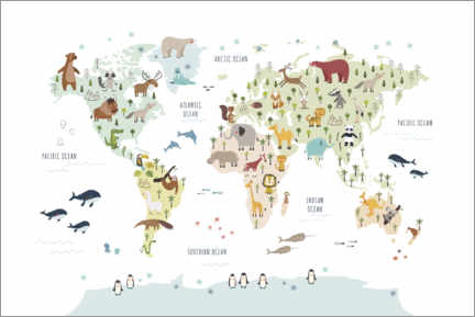Premium-plakat World map with animals (white)
