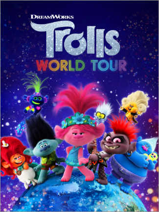 Selvklæbende plakat  Trolls World Tour - Around the globe