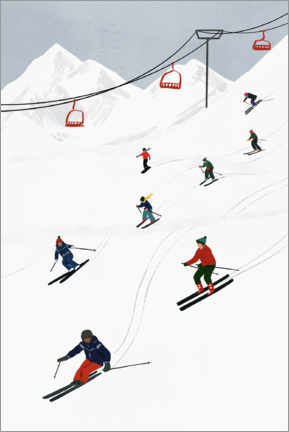 Lærredsbillede  On the ski slope - Victoria Borges