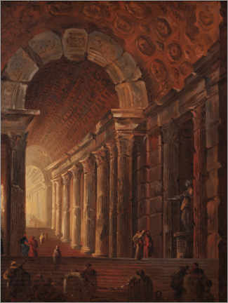 Akrylbillede  An arched staircase, a piece of architecture - Johan Gottlob Brusell