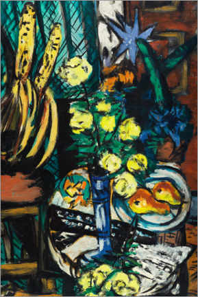 Akrylbillede  Still life with yellow roses - Max Beckmann