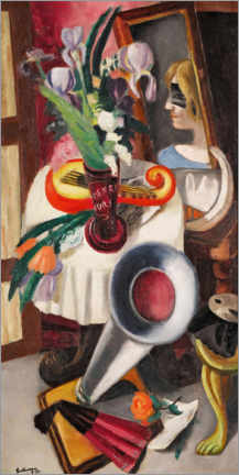 Akrylbillede  Still life with gramophone and irises - Max Beckmann