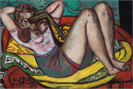Print på træ  Woman with a mandolin in yellow and red - Max Beckmann