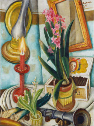 Premium-plakat  Still life with a burning candle - Max Beckmann