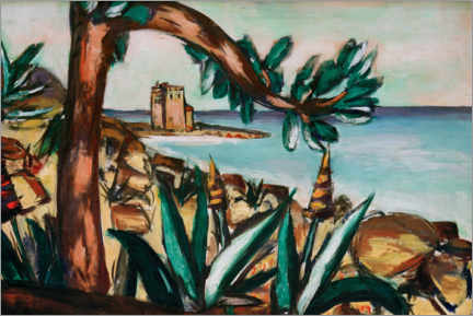 Galleritryk  Seascape with an old castle and agaves - Max Beckmann