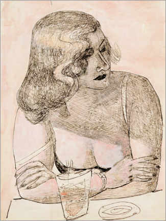 Akrylbillede  Young woman with glass - Max Beckmann
