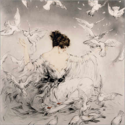 Akrylbillede  Girl with pigeons - Louis Icart
