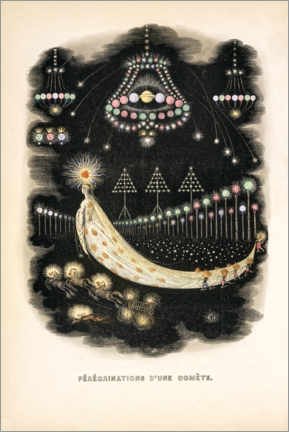 Akrylbillede  The Peregrinations of a Comet (french) - J.J. Grandville