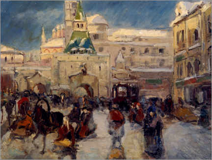 Lærredsbillede  The Ilyinskaya Square with the Ilyinsky Gate in Moscow - Georgi Alexandrowitsch Lapschin