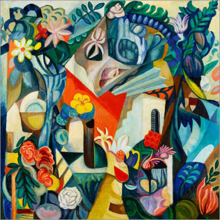 Lærredsbillede  Composition with house and flowers - Hélène Oettingen