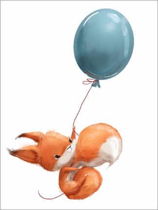 Print på aluminium  Red squirrel with balloon - Eve Farb