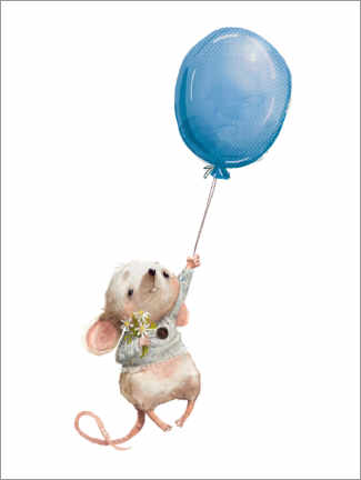 Print på træ  Little mouse with balloon - Kidz Collection