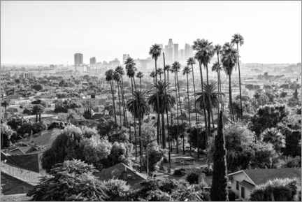 Print på aluminium  Black California - The Los Angeles Skyline - Philippe HUGONNARD