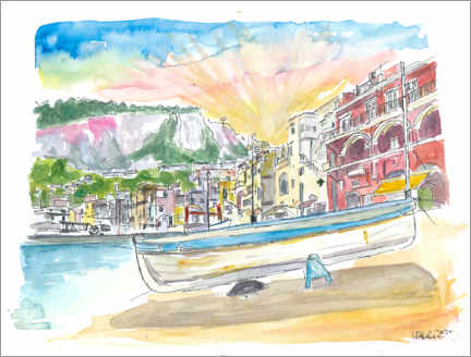 Premium-plakat Marina Grande boat and harbor scene on Capri island in Italy