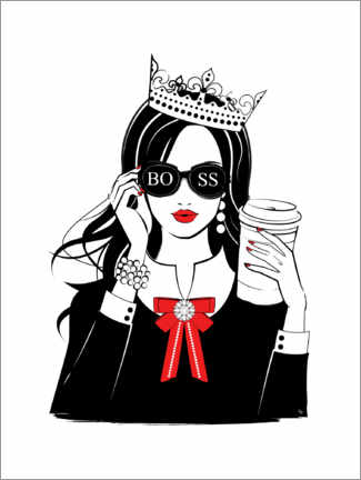 Lærredsbillede  Boss Girl Queen - Martina illustration