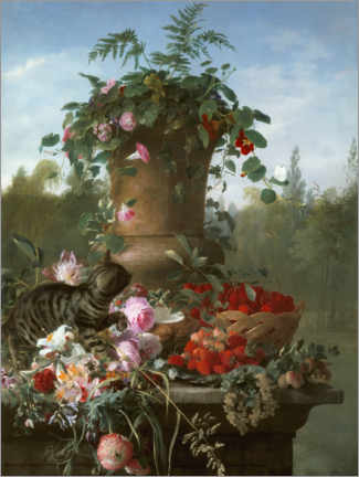 Selvklæbende plakat  Still life with flowers and fruits on a stone slab - François Antoine de Bruycker