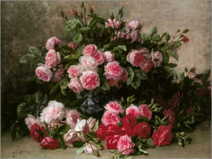 Lærredsbillede  Still life with pink and red roses - Jean Capeinick
