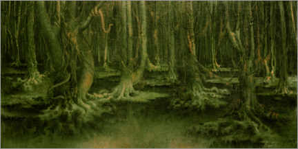 Print på træ  The leper forest - William Degouve de Nuncques
