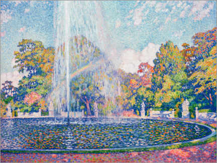 Lærredsbillede  Fountain in the park of Sanssouci near Potsdam - Theo van Rysselberghe