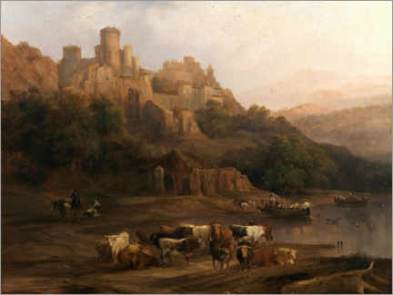Akrylbillede  A herd of bulls by the river and a castle above - Genaro Pérez Villaamil Duguet