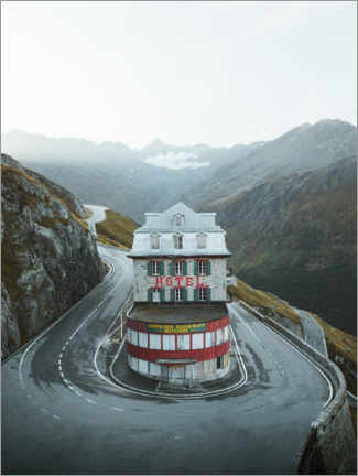 Premium-plakat  Hotel Belvedere at the Swiss Furka Pass - Lukas Saalfrank
