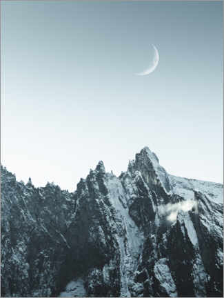 Print på aluminium  Rising moon over the mountains - Lukas Saalfrank