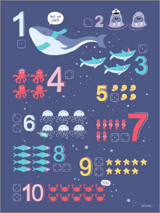 Premium-plakat  Counting numbers with marine animals - Heyduda