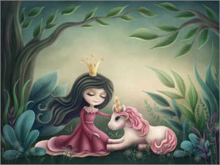 Lærredsbillede  Princess with unicorn in the magic forest - Elena Schweitzer