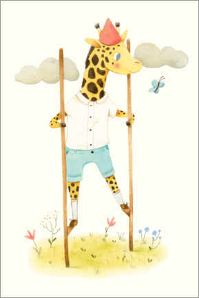 Premium-plakat Giraffe on stilts