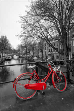 Lærredsbillede  Red bicycle on the canal, Amsterdam - George Pachantouris