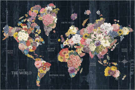 Premium-plakat World map made of flowers