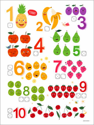 Selvklæbende plakat  Learning numbers with cheeky fruits - Heyduda