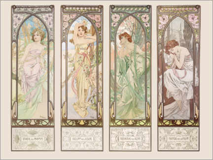 Selvklæbende plakat  The Times of the Day - Alfons Mucha