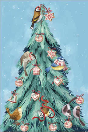 Lærredsbillede  Birds of the forest, decorating the Christmas tree - Leonora Camusso