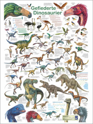 Print på træ  Feathered dinosaurs - Planet Poster Editions