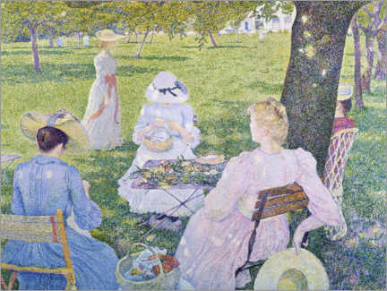 Print på aluminium  Family in the orchard - Theo van Rysselberghe